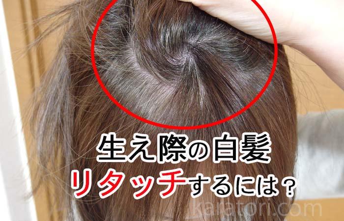 生え際の白髪をリタッチ